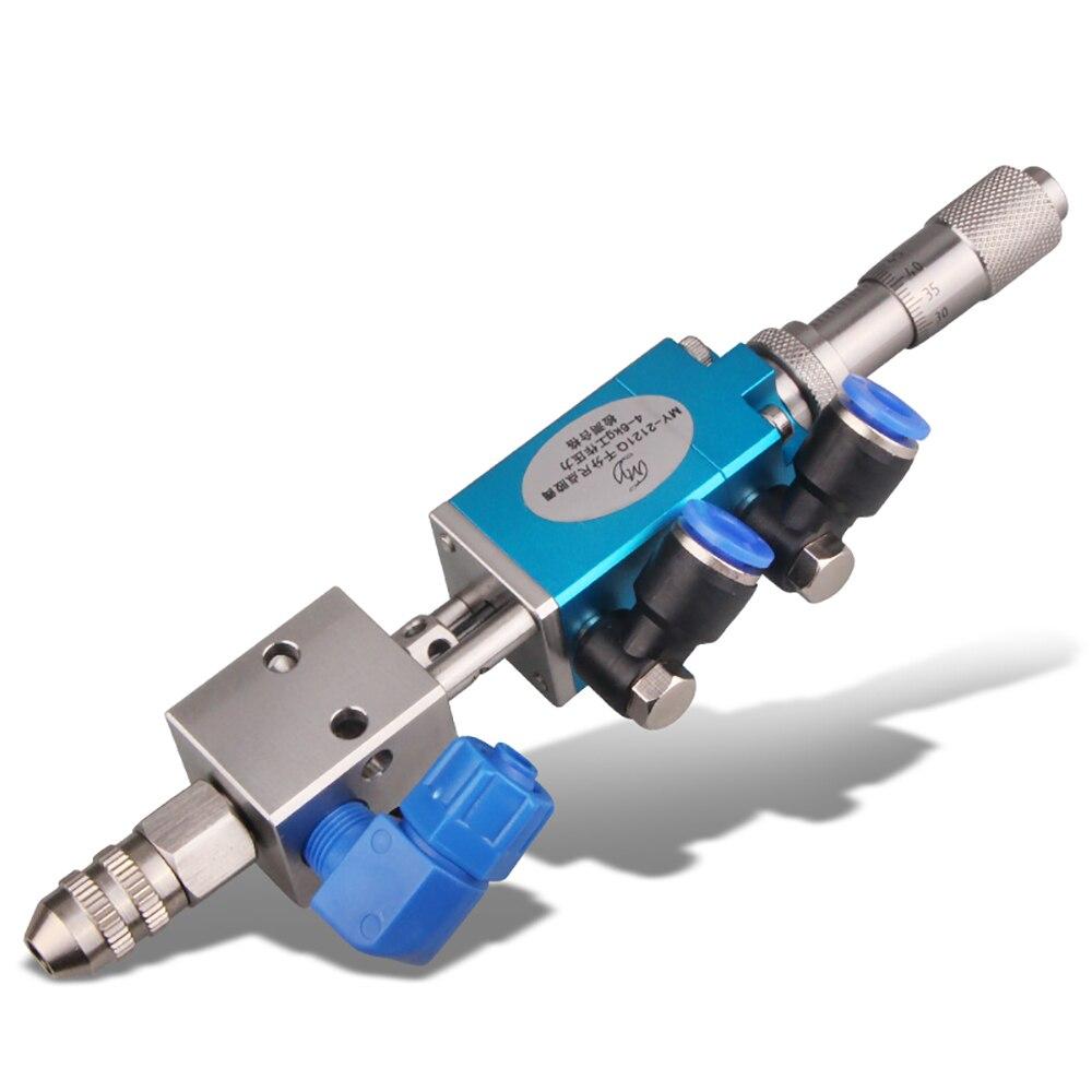 MY-2121Q tipo dedal válvula de distribuição precisão ajuste micrômetro pneumático uv cola dispenser válvula 0.1 ml y