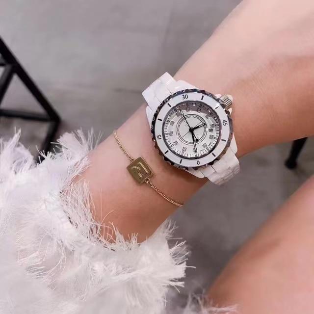 Relojes mujer 2021new luxury men's classic quartz France New Black / white high quality ceramic watch women's diamond expression