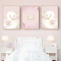 Bebe fille pepiniere mur Art noel toile peinture rose cygne enfants chambre deco dessin anime affiches nordique enfants decoration de la maison