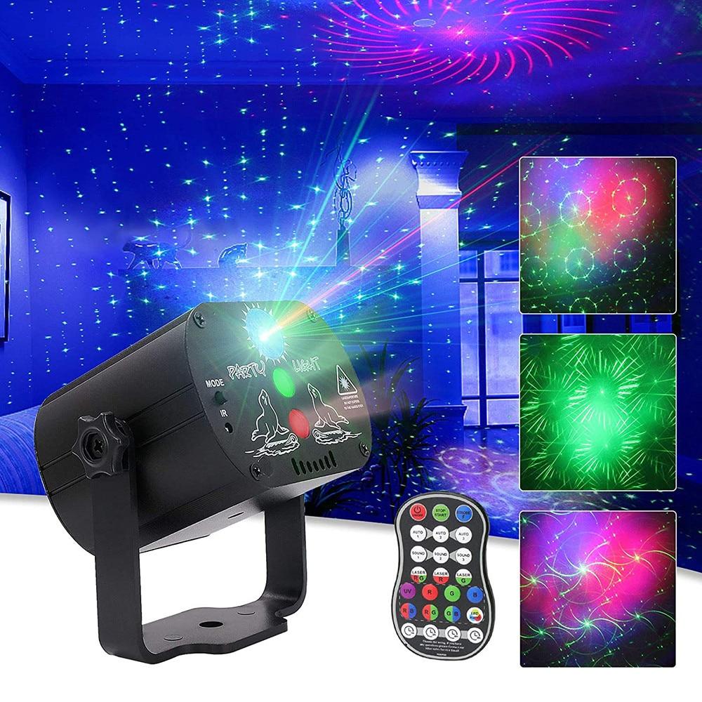 60 أنماط صغيرة DJ ديسكو ضوء حفلة المرحلة الإضاءة تأثير التحكم الصوتي USB جهاز عرض ليزر ستروب مصباح للمنزل الرقص الطابق