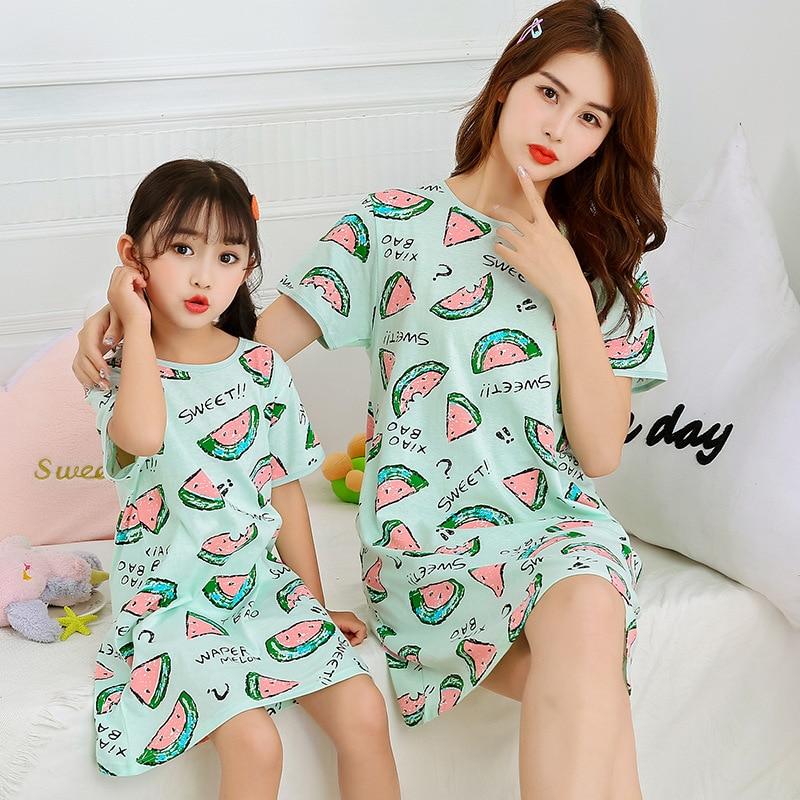 Girls Nightgowns Kids Nightdress Baby Sleepwear Summer Sleeing Dress For Girl Home Clothes Mother Ki