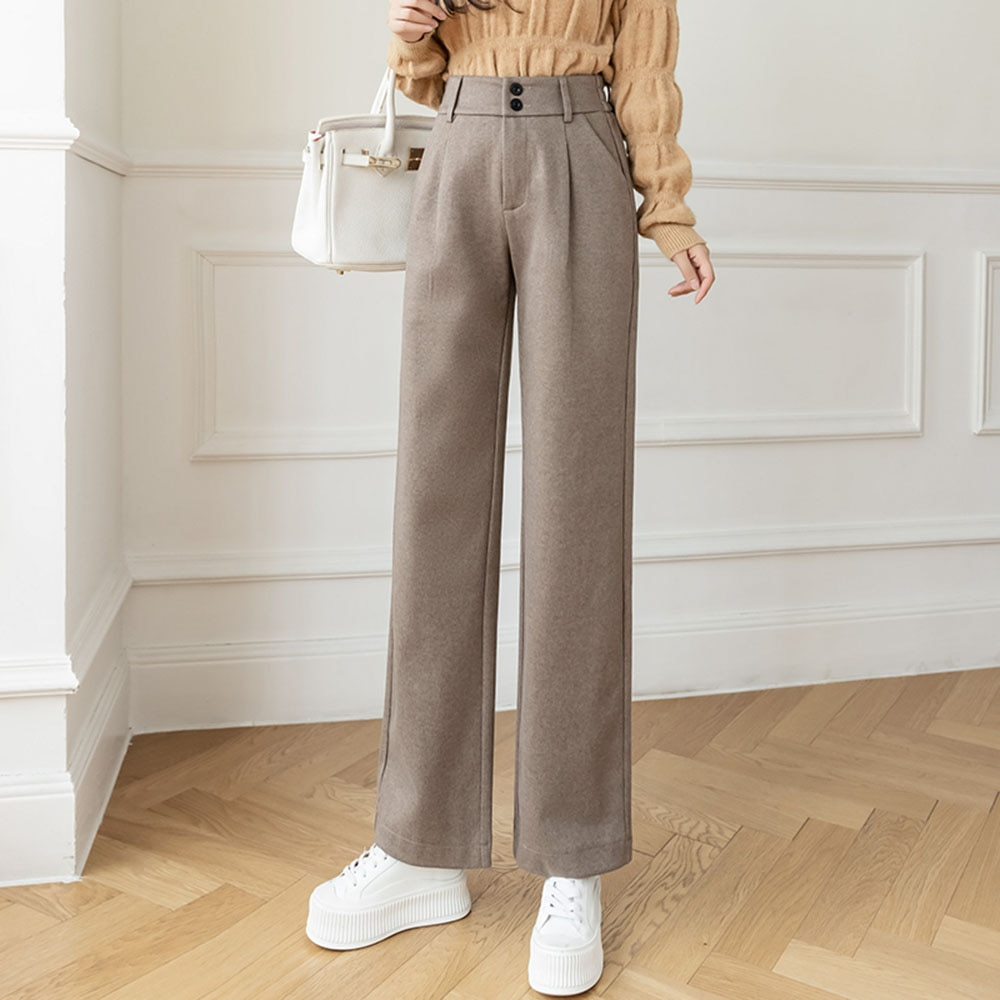 Woolen Wide-leg Pants Women's Winter  New Pants High Waist Drape Casual Loose Mopping Straight Trous