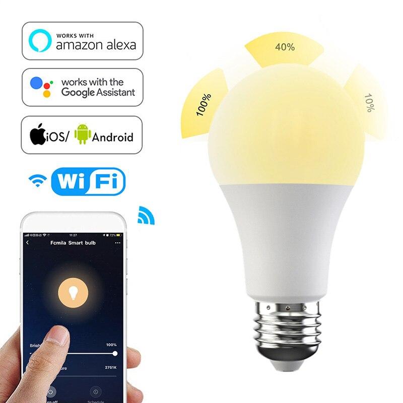 Fcmila WIFI inteligente Downlight APP Control 220v 15W bombilla LED para lámpara Control de voz para Alexa/Google cálido y frío Led Bombilla inteligente