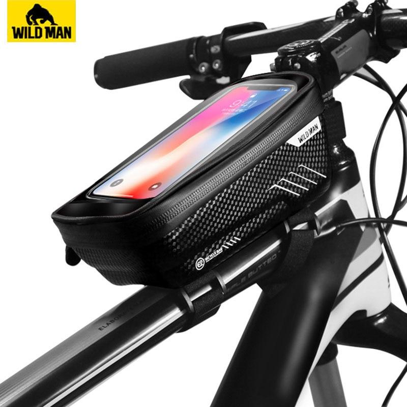 Сумка для горного велосипеда WILD MAN, водонепроницаемая передняя сумка, 6,2 дюйма с чехлом для мобильного телефона
