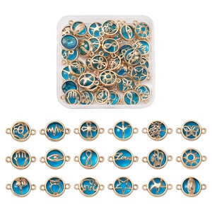 1Box Mix Shapes Glass Links Connectors For DIY Jewelry Bracelet Necklace Earring Making Connector Accessories