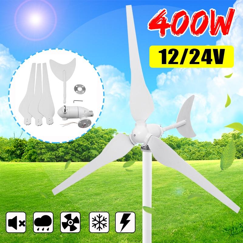 400W 12V 24 voltios 3 hoja de fibra de Nylon turbinas de viento domésticas horizontales generador de viento energía molino de viento energía turbinas carga