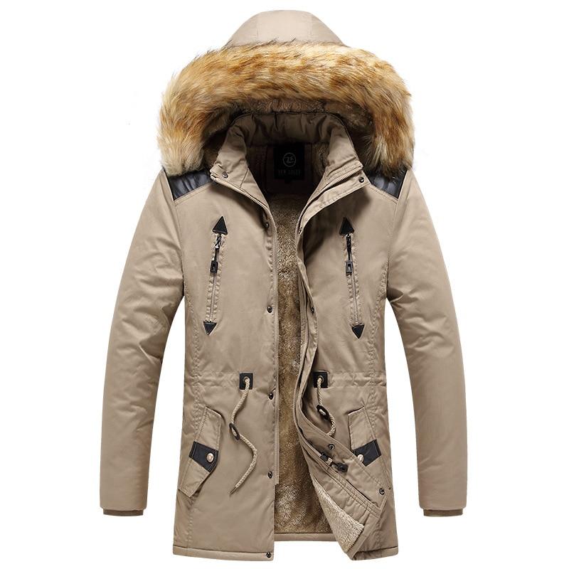 Windproof Fur Collar Fleece Hat Detachable Male Outerwear Winter Parka Coat Men 2021 New Hooded Casual Thick Warm Mens Overcoat