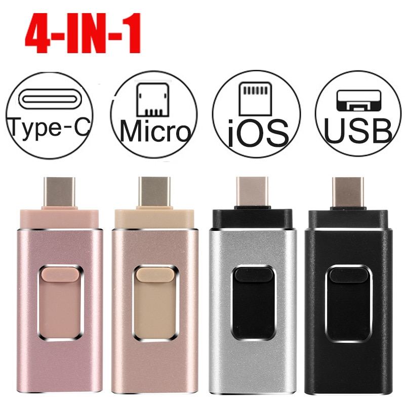 Unidad Flash USB 16G32G64G128G256G para iPhone5s/6S/6Plus/7S/7Plus/8X/iPad/TYPE-C Android, lector de tarjeta de memoria pendrive 3,0
