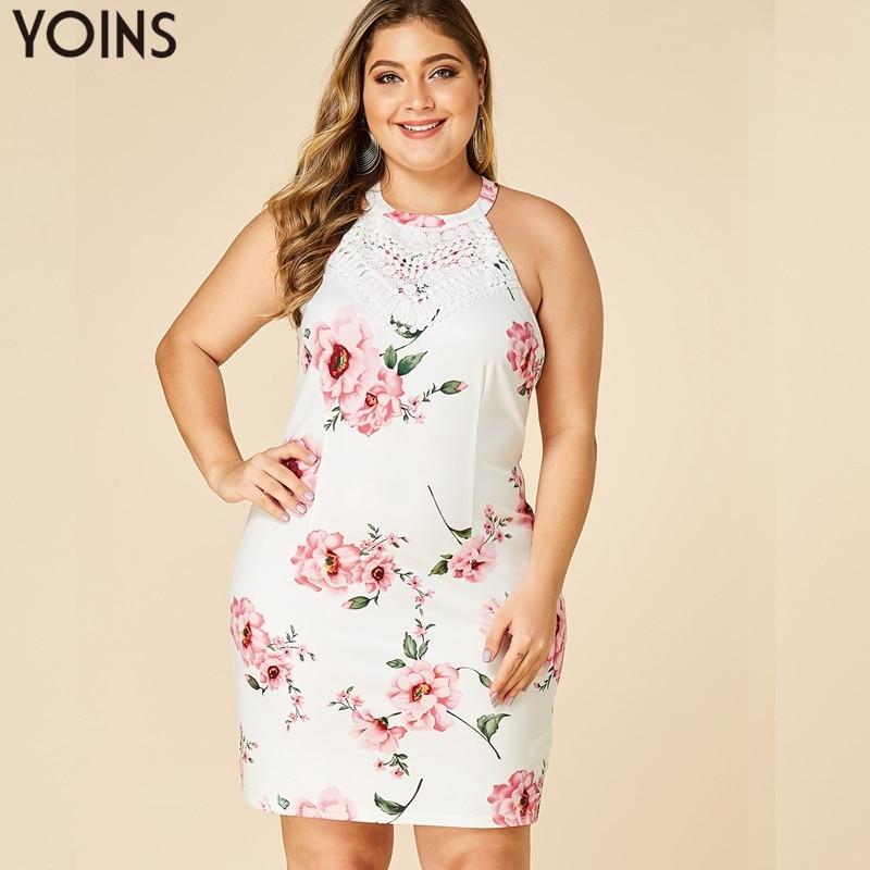 YOINS-vestido Floral sin espalda, Sexy vestido ceñido con cuello Halter, sin mangas, verano 2020, elegante, de encaje, Vintage, para playa, vestido de talla grande