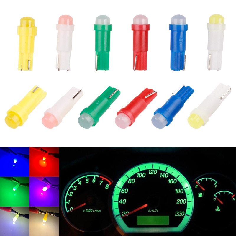 3D LED T5 1SMD COB Instrument Lamp Dashboard Wedge Lights Warning Indicator Bulb Bright Car Reading Clearance Interior Light 12V