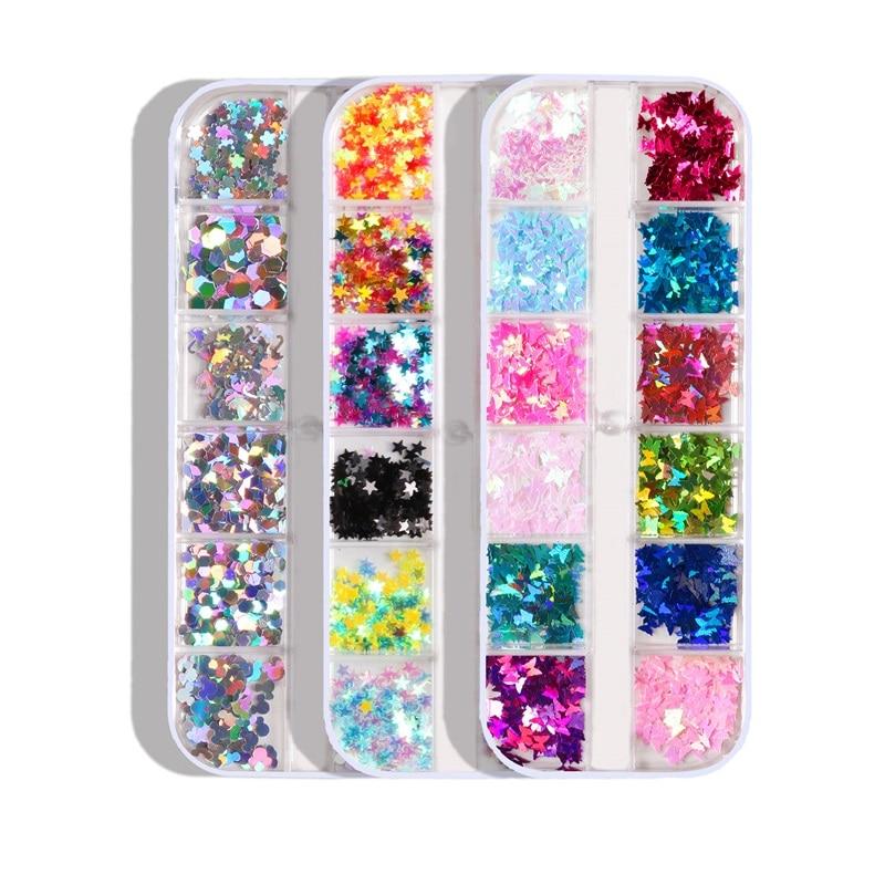 12 rejillas/caja holográfica brillante estrella de la mariposa amor Nail Art purpurina lentejuelas Paillette 3D decoración copos rebanadas Accesorios