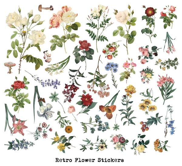 Papel Vitela 40Pcs 2019 Do Vintage Grande Flor Ilustração Etiqueta DIY Scrapbooking Álbum Junk Planejador Diário Adesivos Decorativos