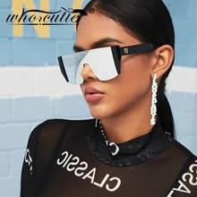 WHO CUTIE-lunettes de soleil futuriste une pièce   Lunettes de soleil de styliste, carré surdimensionné sans bords, lunettes de soleil noires femmes, OM504 2019