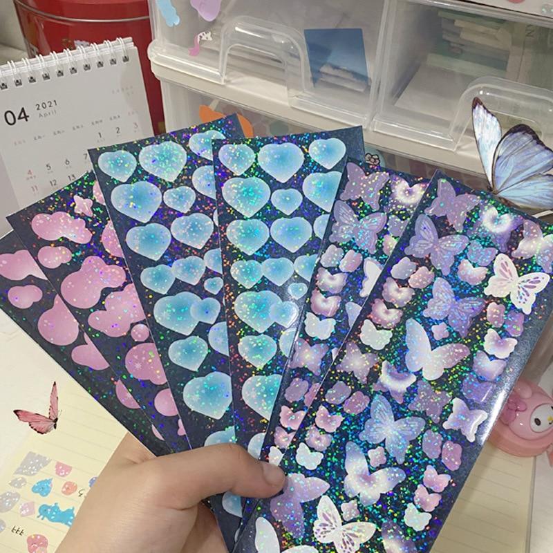 pegatinas-decorativas-hechas-a-mano-para-manualidades-pegatinas-de-luz-laser-de-mariposa-corazon-amoroso-de-color-coreano-para-album-de-recortes-papeleria-para-telefono-movil