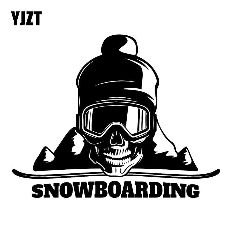 YJZT 17,8 M * 13,9 CM Snowboard Skull montaña extremo deporte moda coche decoración vinilo coche pegatina negro/ de plata C31-0122