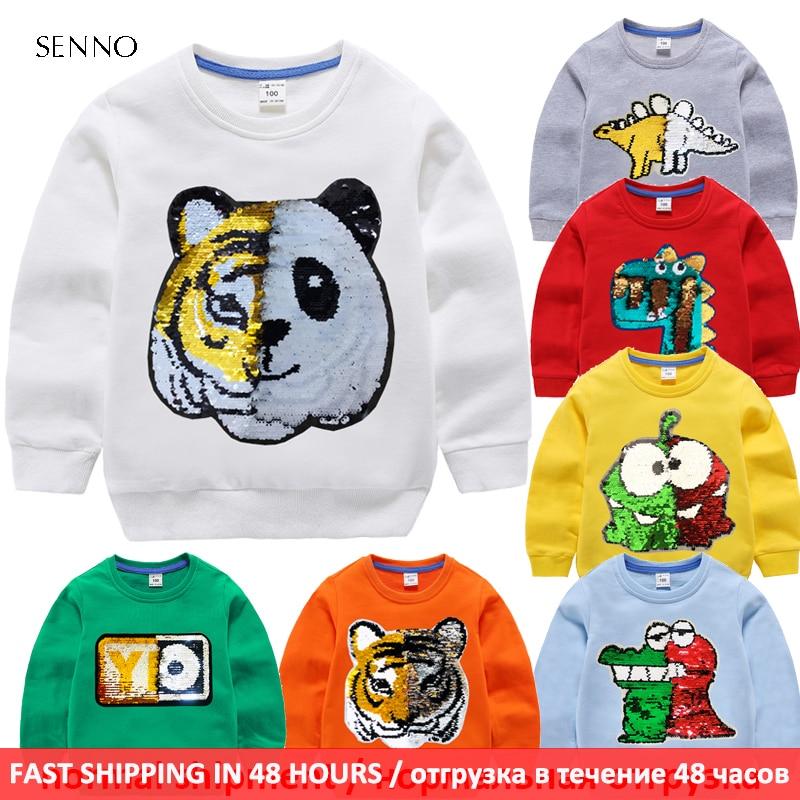 Kids boys hoodies baby sweatshirt with sequin autumn children sweatshirt pullover coat 100% cotton long sleeve boy clothing