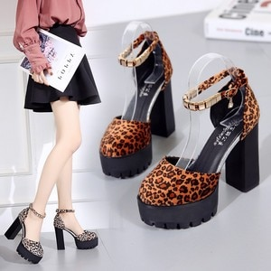 Leopard Print Round Head Fashion Women's High-heeled Sandals 11.5cm Rubber Thick Soles Summer Shoes for Women