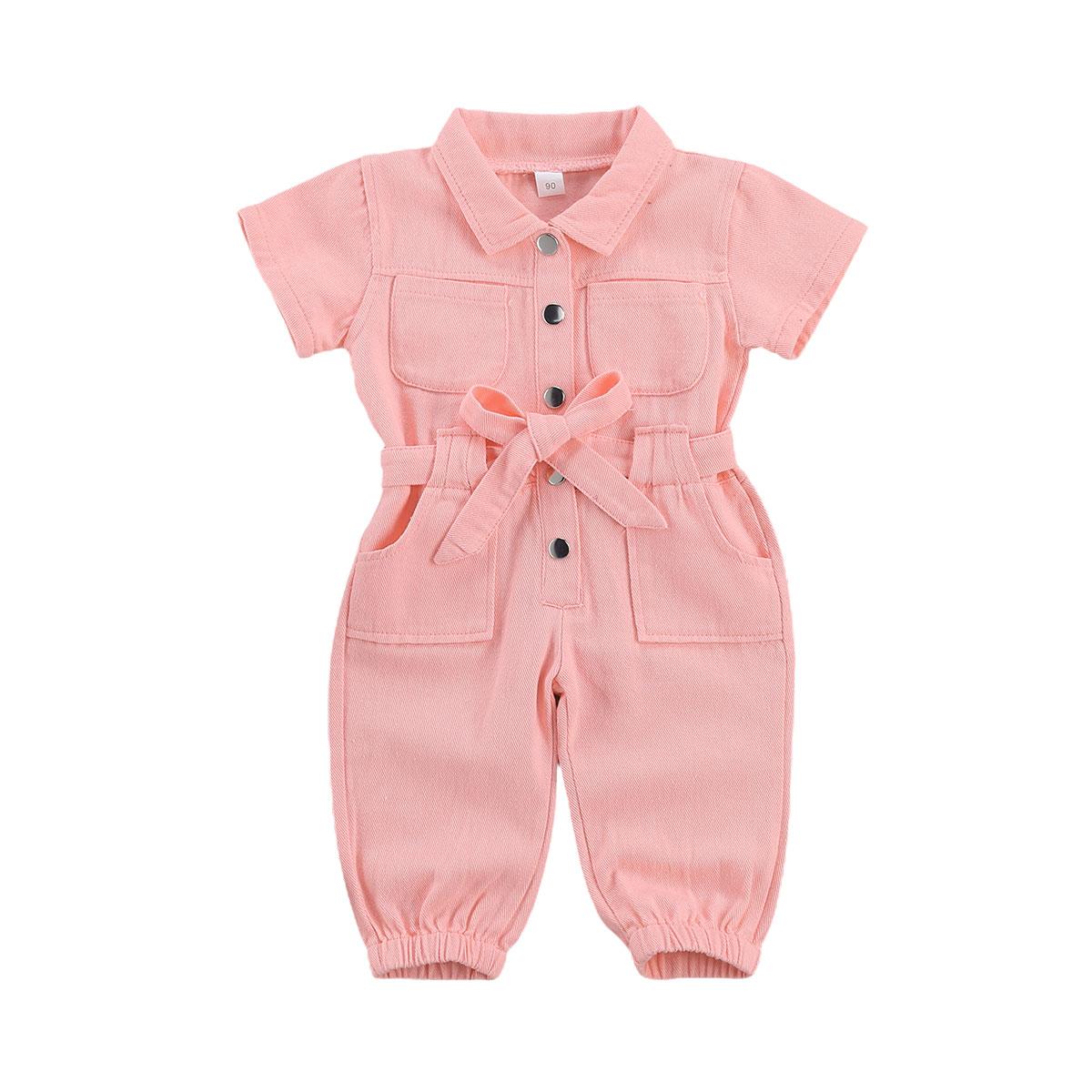 الرضع الاطفال طفل الفتيات بذلة الدينيم ملابس العمل قطعة واحدة طفل يقف طوق جيب قصيرة الأكمام رومبير للأطفال