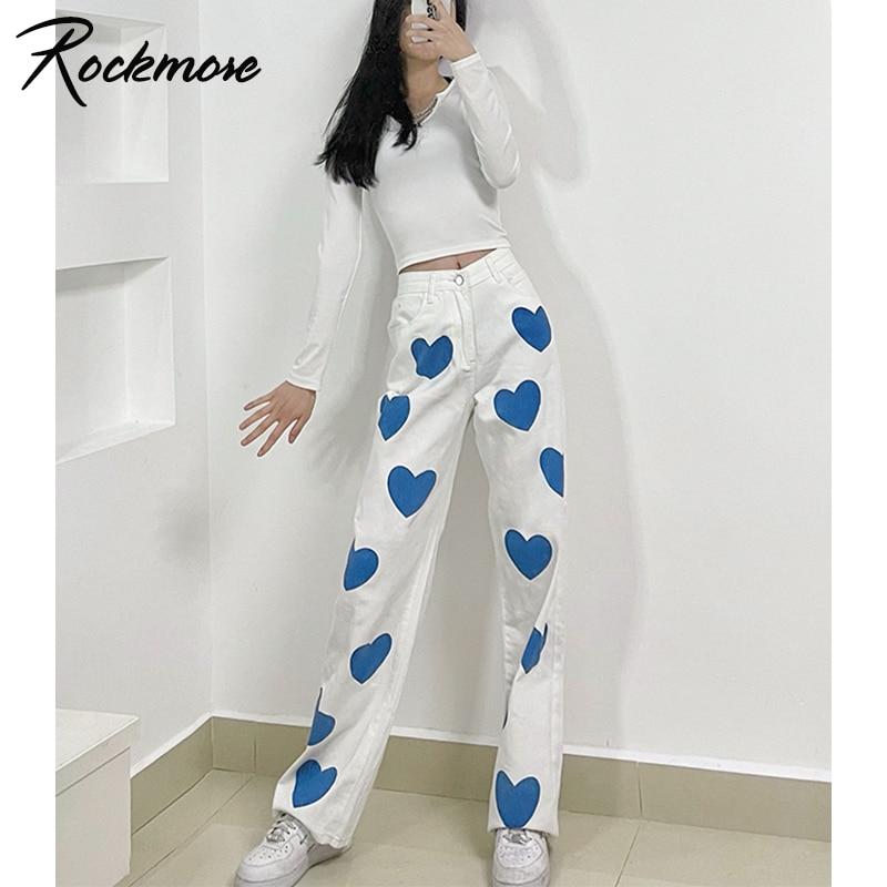 Rockmore Vintage Baggy Jeans For Women Y2K Aesthetic Heart Print High Waist  Mom Denim Cargo Pants Harajuku Streetwear Trousers