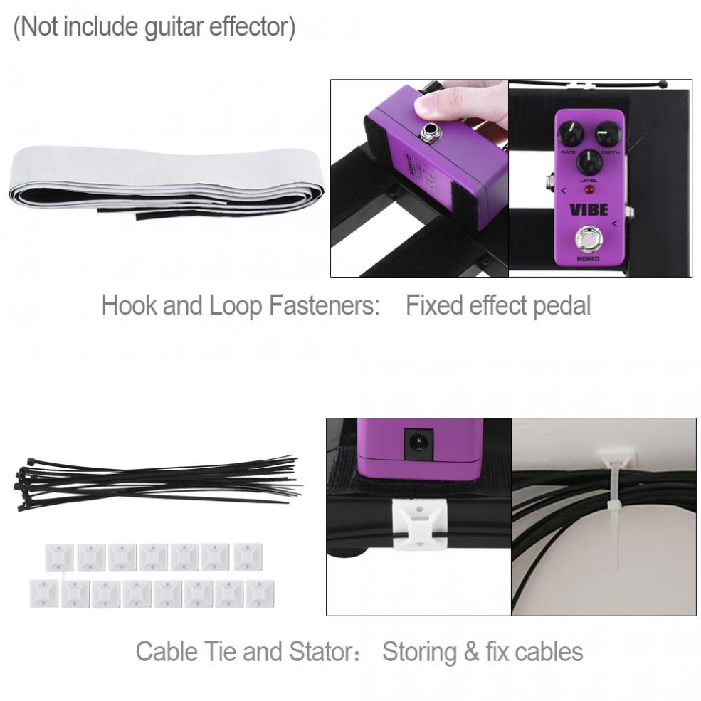 47 x 27cm Guitar Pedal Board Setup Style DIY Guitar Effect Pedalboard Aluminum Alloy with 6pcs 22cm Patch Cable enlarge