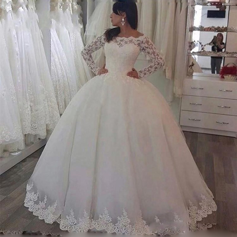 luxury long tail satin red bling ball gown wedding dresses newest sexy designer bridal wedding gowns with sleeves Princess Ball Gown Luxury Wedding Dresses Lace Appliques Off the Shoulder Long Sleeves Bridal Dresses Formal Gowns Plus Size