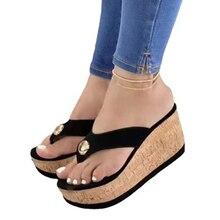 Women Sandals 2021 Summer Cork Sole Platform Sandals Women Shoes Ladies Sandals Slipper Indoor Outdo