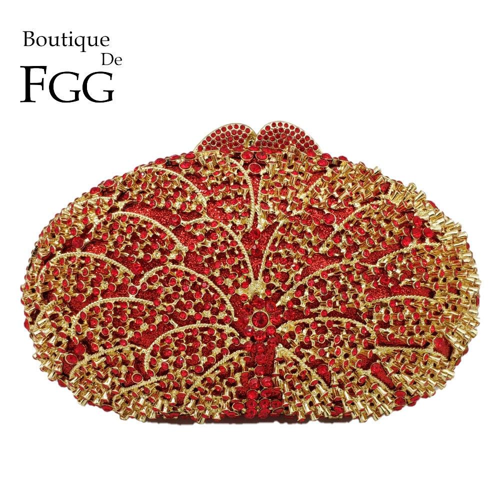 Boutique De FGG-حقيبة يد كريستالية مخرمة للنساء ، للسهرات ، الزفاف ، حفلات الكوكتيل