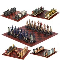 viking theme chess 32 painted pieces with embossed leather board chess pieces go game chess board chess set luxury