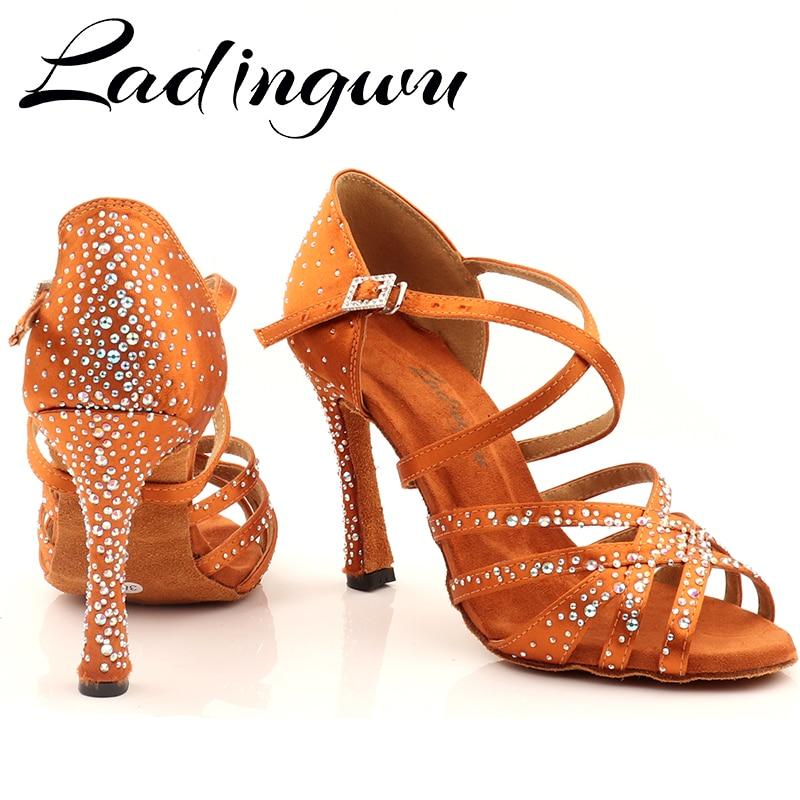 Ladingwu Women Party Dance Shoes Silk Satin Shining Rhinestones Soft Bottom Latin Dance Shoes Woman Salsa Dance Shoes Custom Hee