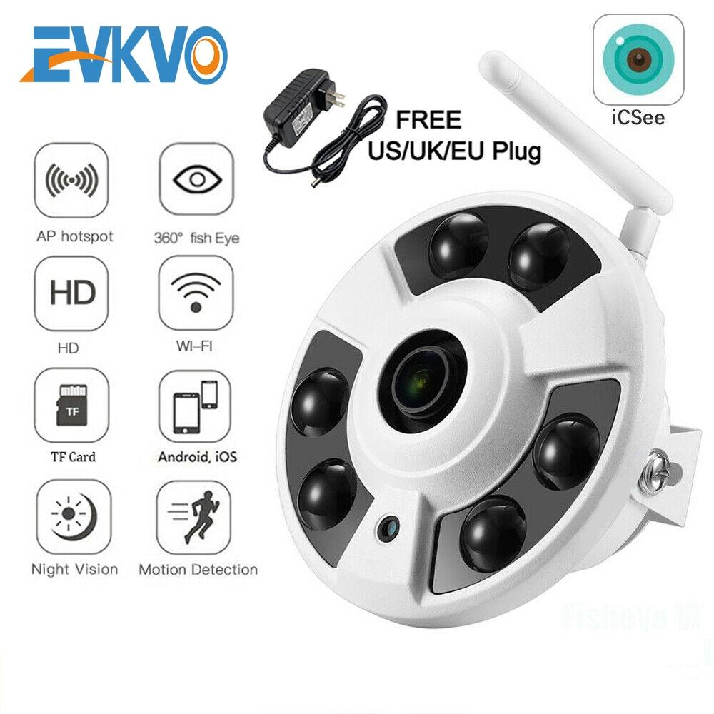 EVKVO كامل HD 1080P واي فاي كاميرا IP لاسلكية الصوت CCTV واي فاي كاميرا عين السمكة 180 / 360 درجة كاميرات بانورامية Onvif TF فتحة للبطاقات