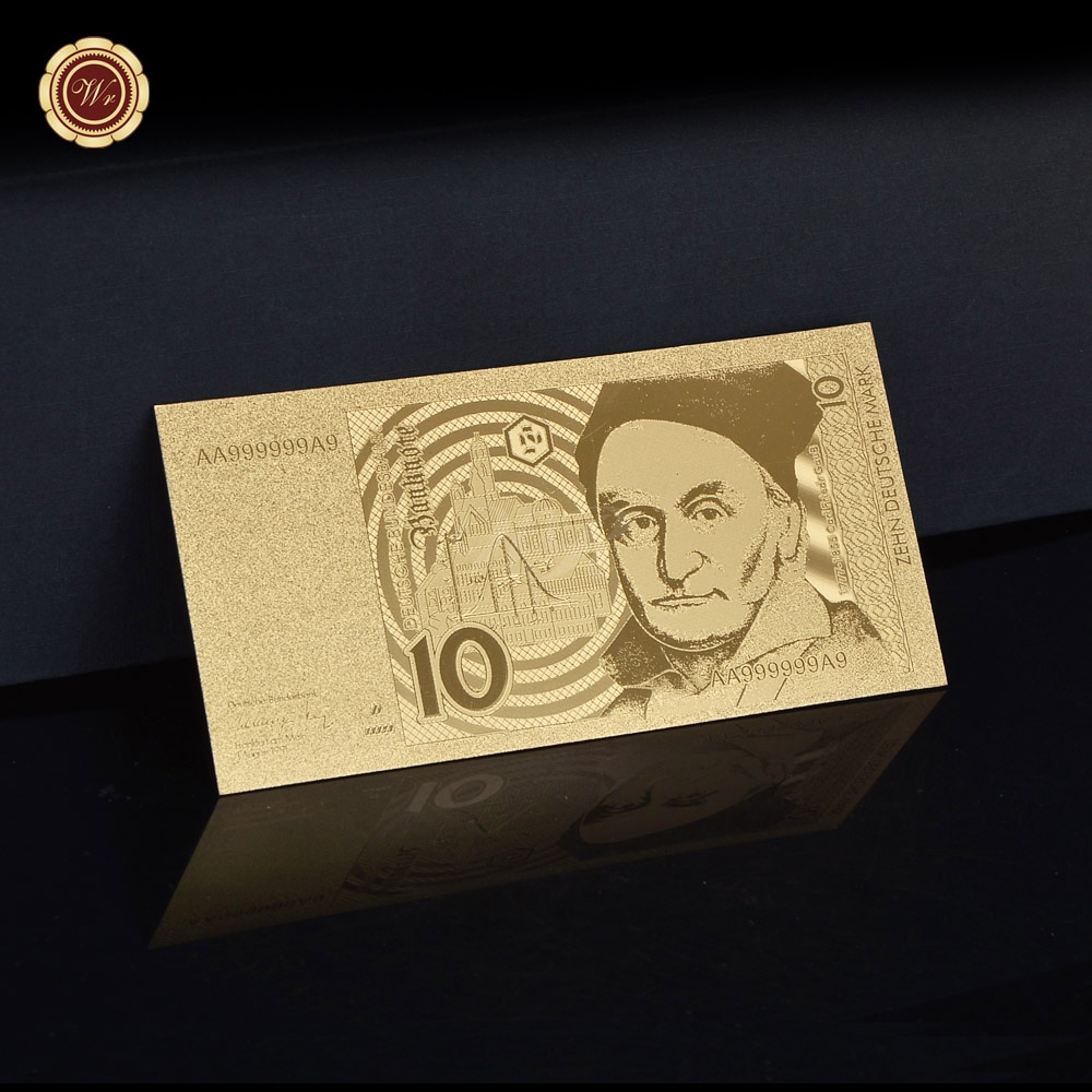 WR Germany 10 Dollars Fake Money Bills Gold Foil Banknote Deutsche Mark Non-currency Prop Money Business Gifts