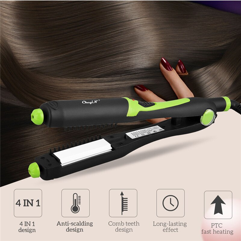CkeyiN 4 in 1 Curling Irons Automatic Hair Waver Electric Hair Curler Wand Ceramic Curling Wand Hair Flat Iron Corrugation Iron недорого
