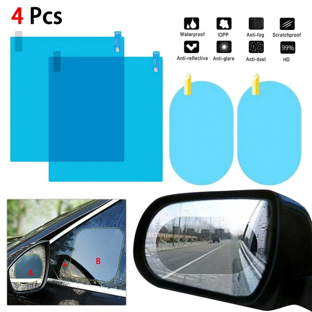 Espejo retrovisor de coche impermeable Anti-niebla impermeable Kit de película a prueba de lluvia ventana lateral película de vidrio Anti-lluvia espejo retrovisor de Coche Películas de cubierta