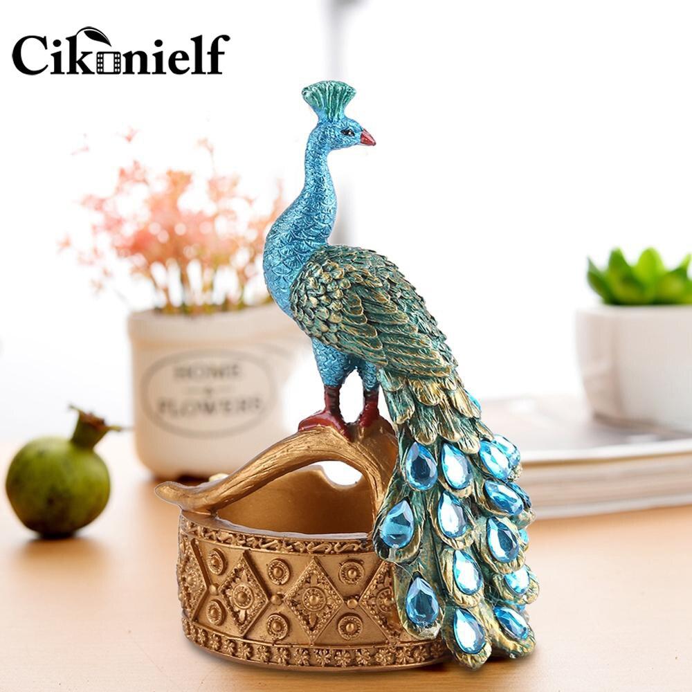 Creative Handcraft Peacock Modelling Design Resin Ashtray Succulent Plants Pot Resin Home Office Decor Ashtray