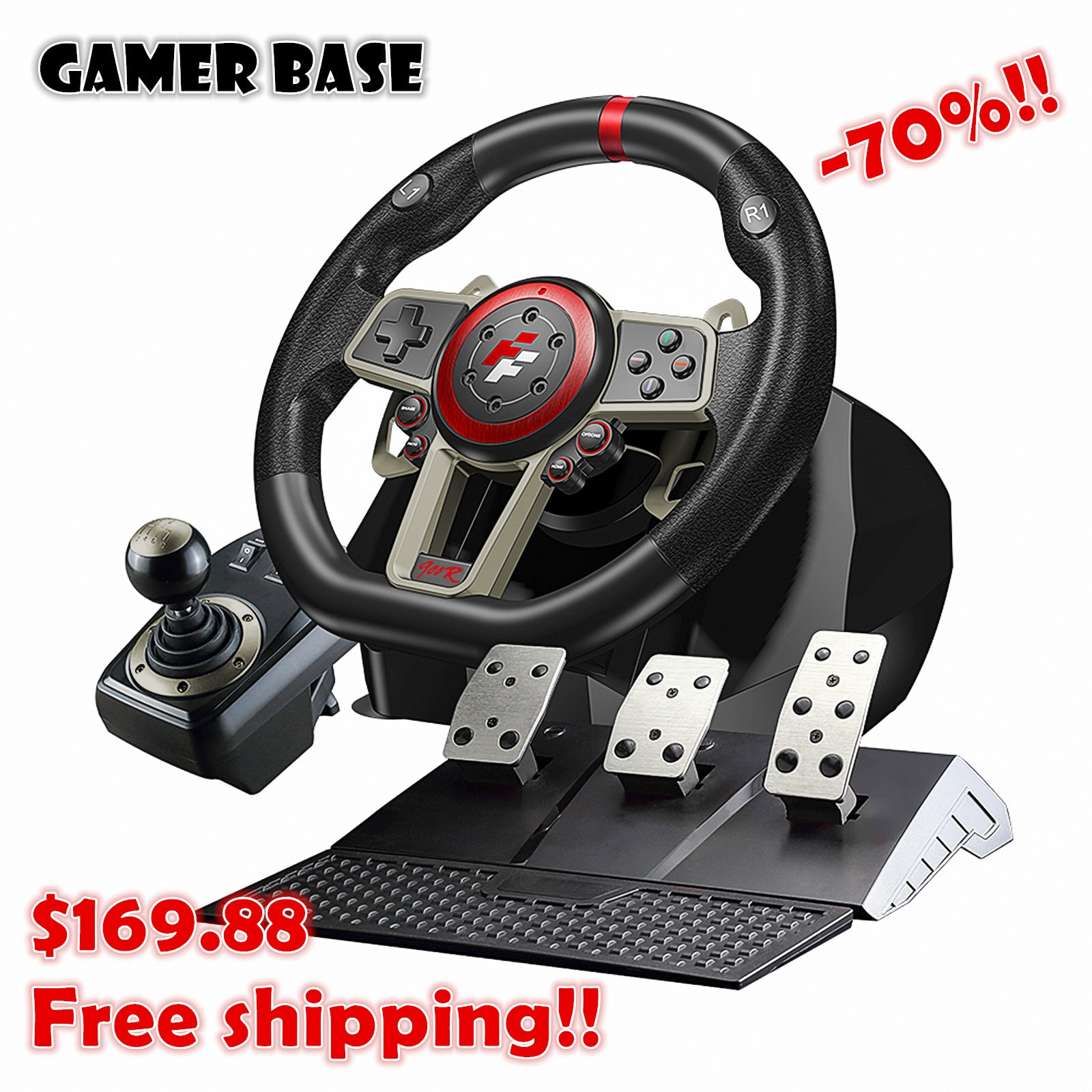 Racing Steering Wheel For PC/PS3/PS4/Switch/Xbox One/Xbox 360 Game Steering Vibration Joysticks Remote Controller Wheels Drive