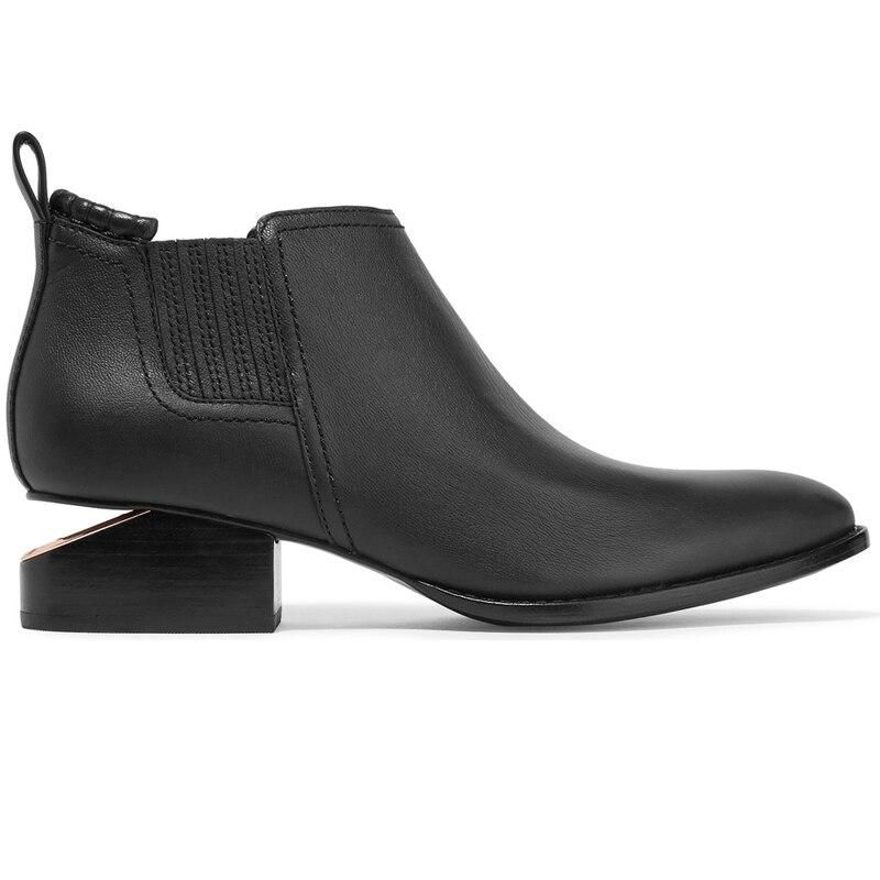 إمرأة أشار تو حذاء من الجلد جلد طبيعي تشيلسي الصفائح المعدنية قطع صندل بكعب مكتنز حذاء أسود ريترو الشرير الأسود 2021 جديد