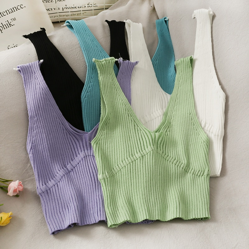 2021 Spring/Summer Pure Color All-Matching Short Slim Fit Midriff-Baring Knitted Vest Women's New V-