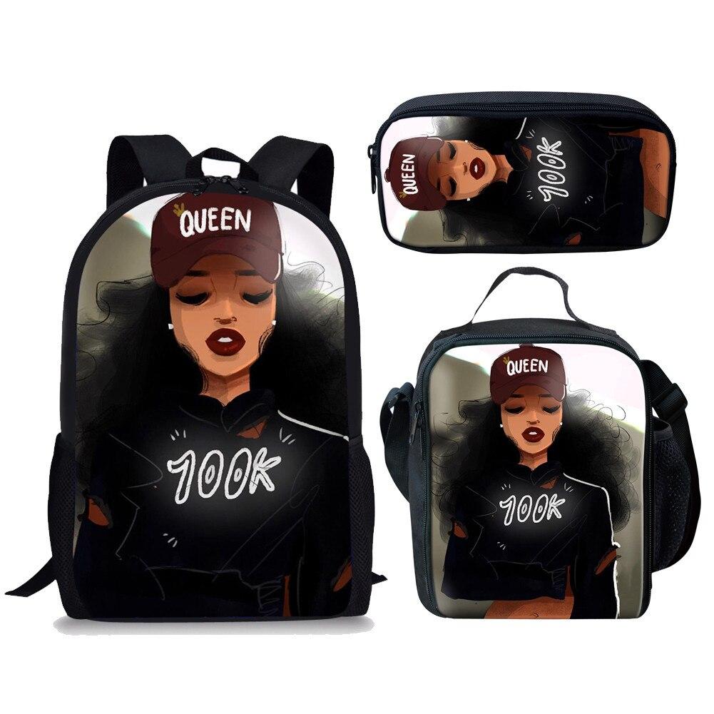 3pcs School Bags Set for Students Black Art African Girl Print School Bag Children Preppy Shoulder Bookbag Kids Bag