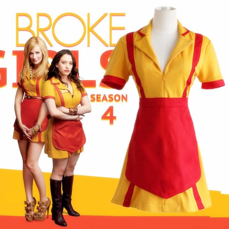 Movie 2 Broke Girls Max Black Caroline Channing Cosplay Costume Halloween Party Short Sleeve Yellow Fancy Dress Cosplay Suit