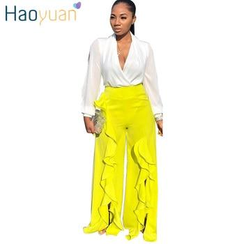HAOYUAN Casual Ruffle Pants Womens Festival Clothing Loose Pants Streetwear Wide Leg Pants 2019 New Fashion Fall Ladies Trousers