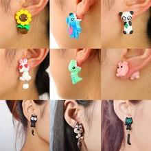 Cute Cat Red Fox Lovely Panda Squirrel Tiger Stud Earrings For Women Jewelry  100% Handmade Polymer Clay Animal Earrings