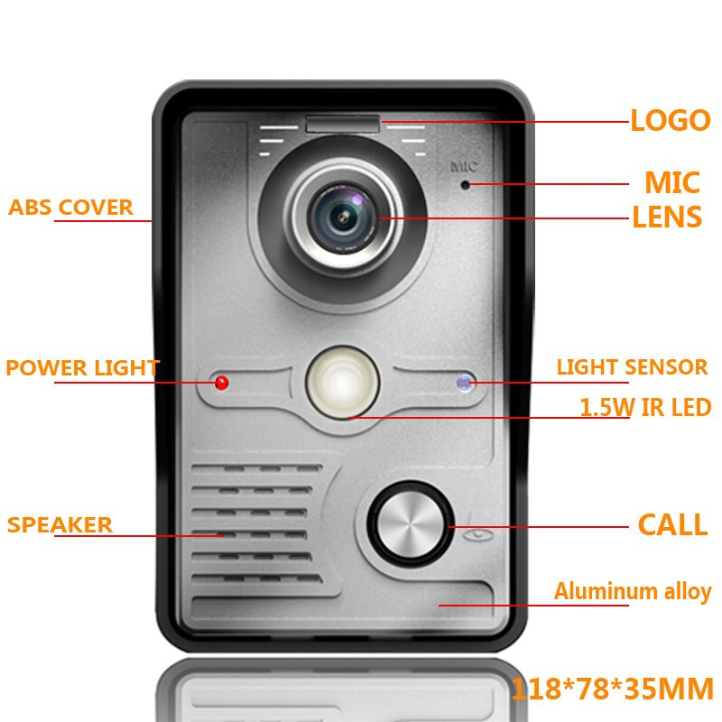 7 inch TFT LCD Video Door Phone Visual Video Intercom Speakerphone Intercom System +2 Monitor +1 Waterproof Outdoor IR Camera enlarge
