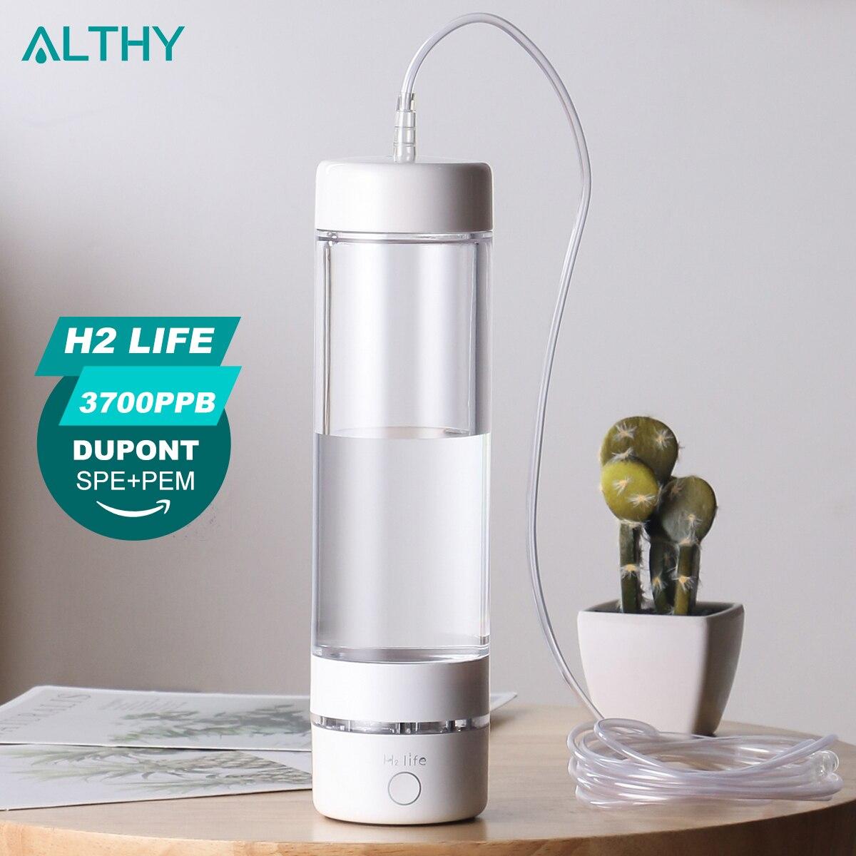 H2Life الجيل 5th مولد ماء الهيدروجين زجاجة ماكس 3700ppb دوبونت SPE + PEM غرفة مزدوجة مع طقم امتصاص الهيدروجين