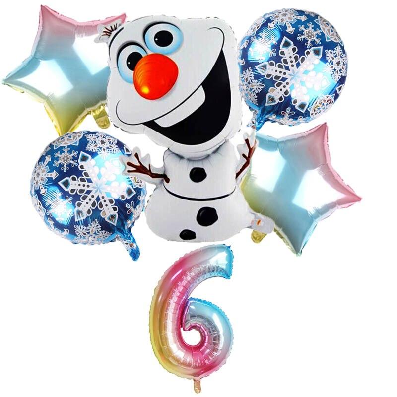 Juego de 6 uds. De globos de aluminio Olaf, muñeco de nieve, elsa, anna, decoraciones para fiesta de cumpleaños, juguetes para niños, globos inflables de aire para baby shower