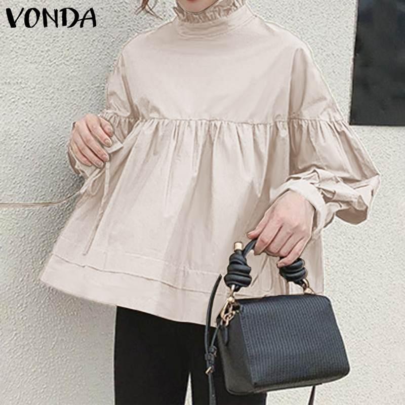 Tunic Women Blouse Office Shirts VONDA 2020 Autumn Long Sleeve Tops Female Vintage Solid Shirts Bohemian Blusas Plus Size