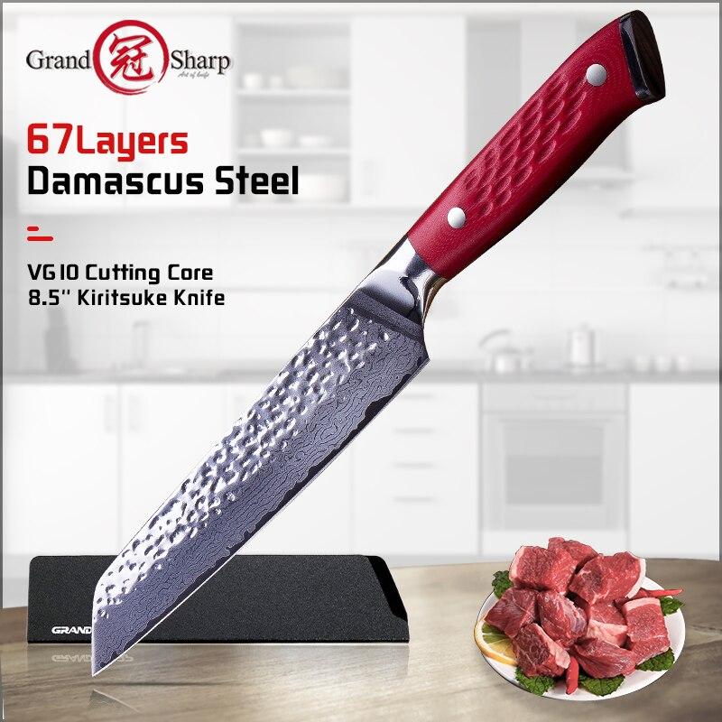 Grandsharp Damascus Knife 8.5 Inch VG10 Blade Damascus Steel Knife 67 Layers Japanese Chef Kiritsuke Cleaver Meat Knife Tools