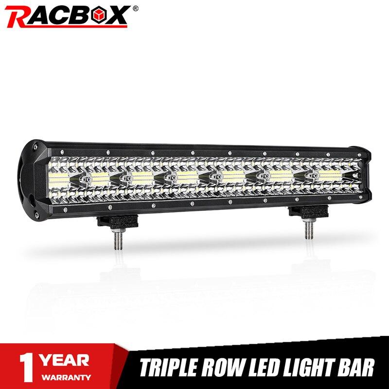 Barra de luz LED de obra de 20 pulgadas y 420W de triple hilera, luces combinadas blancas, barra de luz de trabajo, led 4x4 para coche Jeep, camión 4WD, ATV, todoterreno