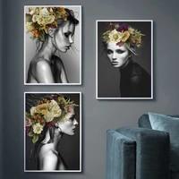 Peinture sur toile avec plume florale et femme  Style nordique moderne  mode abstraite  affiche dart imprimee  image murale  decoration de salon  de maison