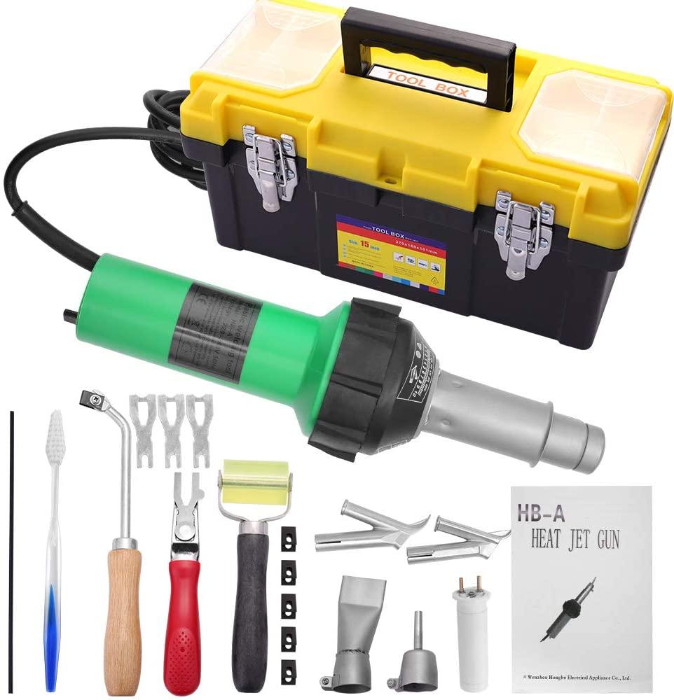 AC220V/110V 1600W Hot Air Torch Plastic Welder Welding Heat Gun Pistol Kit With Welder + Nozzle + PVC Plastic Rod Kit + Tool Box