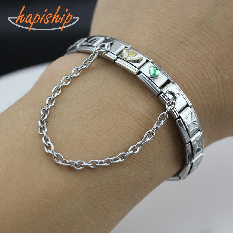 Женский браслет из нержавеющей стали Hapiship, 9 мм, браслет с цепочкой в форме сердца и крестиком, подарок, ювелирное изделие, G062-12